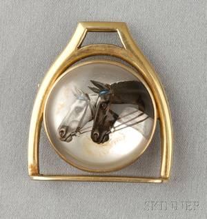 14kt Gold Reversepainted Crystal Brooch