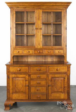 Custom tiger maple Dutch cupboard