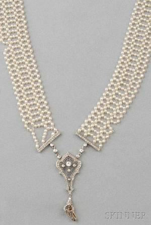 Edwardian Platinum Seed Pearl and Diamond Sautoir