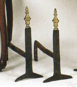 Pair of William  Mary wrought iron and brass andirons ca 1710