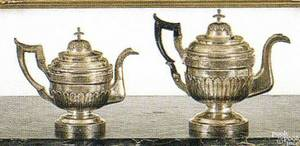 Two American coin silver teapots by Alfred George Welles Boston Massachusetts ca 1805