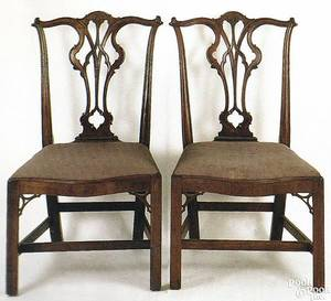 Pair of George III Chippendale mahogany dining chairs ca 1770