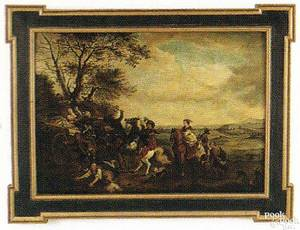 Continental oil on wood panel landscape late 17thearly 18th c