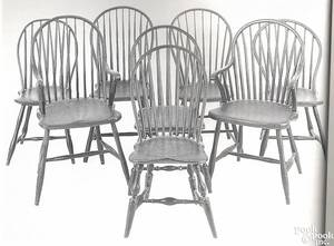 Assembled set of eight Pennsylvania bowback Windsor chairs ca 1800