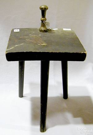 New England painted pine milking bench ca 1890
