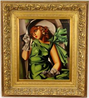 After de Lempicka Young Lady in Green Oil