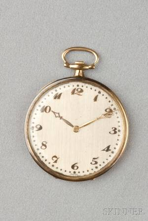 Art Deco Platinum and 18kt Gold Open Face Pocket Watch Touchon  Co