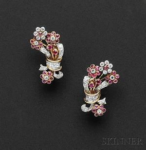 18kt Gold Ruby and Diamond Flower Earclips