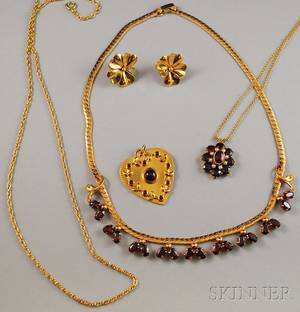 Small Group of 14kt Gold and Garnet Jewelry