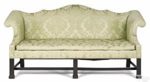 Frank Auspitz York Pennsylvania Chippendale style walnut doublepeak sofa