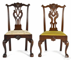 Frank Auspitz York Pennsylvania two Chippendale style walnut dining chairs
