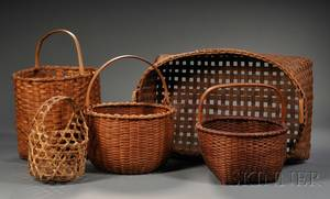 Five Woven Splint Baskets