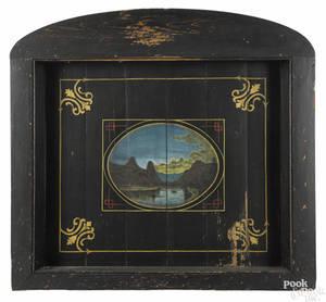 American painted pine fireboard ca 1860