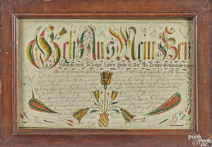 Southeastern Pennsylvania ink and watercolor fraktur vorschrift ca 1800