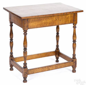Diminutive tiger maple tavern table late 19th c