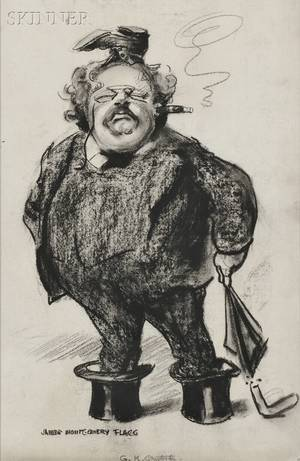 James Montgomery Flagg American 18771960 GK Chesterton A Caricature