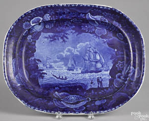 Historical blue Staffordshire platter 19th c