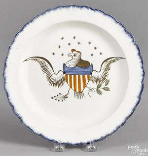 Pearlware blue feather edge plate 19th c