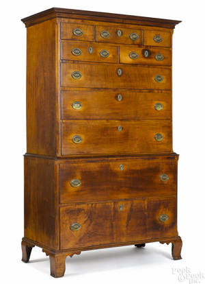 Pennsylvania Chippendale tiger maple chest on chest late 18th c