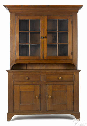 Pennsylvania walnut twopart Dutch cupboard mid 19th c