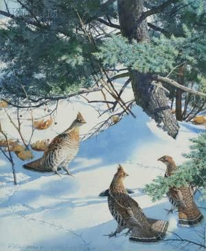 Aiden Lassell Ripley American 18961969 Three Grouse and Hemlocks