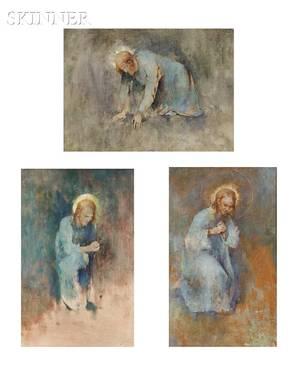 Emil Soren Emil Carlsen American 18481932 Three Works Studies for O Ye of Little Faith