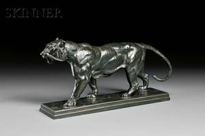 AntoineLouis Barye French 17961875 Tigre qui marche sur plinthe Walking Tiger On a Plinth