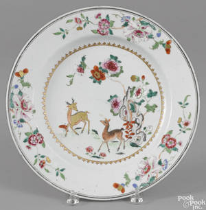 Chinese famille rose porcelain deer charger 18th c