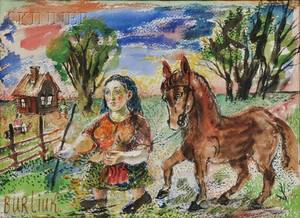 David Davidovich Burliuk UkrainianAmerican 18821967 Woman with Horse