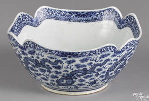 Chinese export porcelain blue and white dragon bowl 19th c