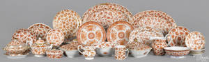 Fortythree pieces of Chinese export orange bird and butterfly porcelain 19th c