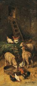 Charles Bertauld French 19th Century Barn Interior with Sheep and Chickens