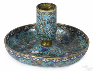 Chinese cloisonn chamberstick late 18th c
