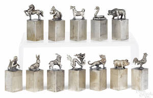 Set of twelve figural Chinese silver astrological seals