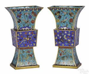Pair of Chinese cloisonn guform vases early 19th c