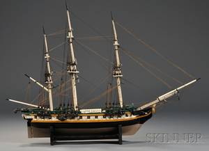 Painted Wood Model of an 18th Century British Royal Navy Frigate