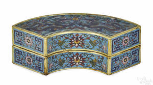 Chinese cloisonn crescentform box and cover