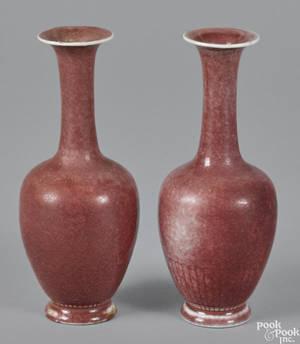 Pair of Chinese peach bloom vases