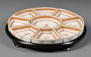 Ninepiece Chinese Export Porcelain Condiment Set in a Lacquered Wood Stand