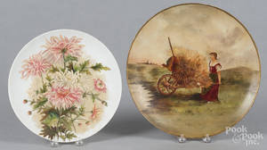 Two painted milk glass plaques
