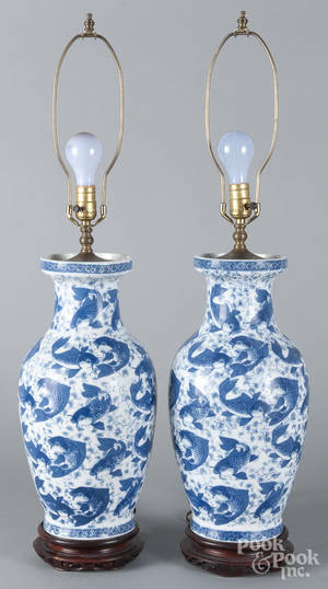 Pair of blue and white export porcelain table lamps