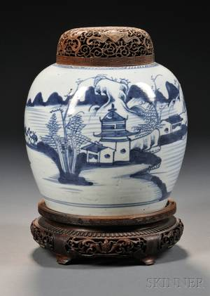 Blue and White Chinese Export Porcelain Ginger Jar