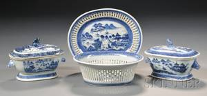 Canton Porcelain Fruit Basket and Stand and Two Small Covered Sauce Tureens