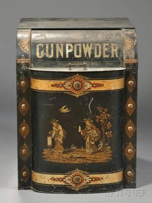Large Polychrome Stenciled and Gilt Tin GUNPOWDER Country Store Tea Bin