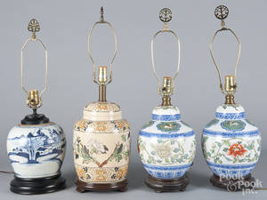 Four Chinese export porcelain table lamps