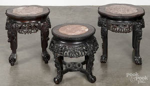 Pair of Chinese carved hardwood marble top stands