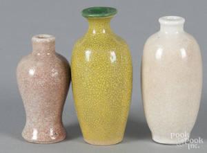 Three Chinese crackle glaze scent bottles