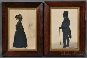 Pair of Silhouettes of a Lady and a Gentleman