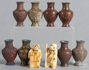 Chinese cased set of bottles displaying the stages of cloisonn