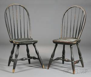 Two Blackpainted Windsor Bowback Side Chairs